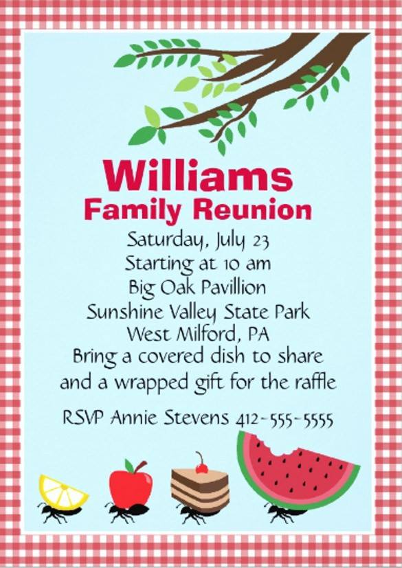 Free Family Reunion Flyers Templates New Picnic Invitation Template – 20 Free Psd Vector Eps Ai