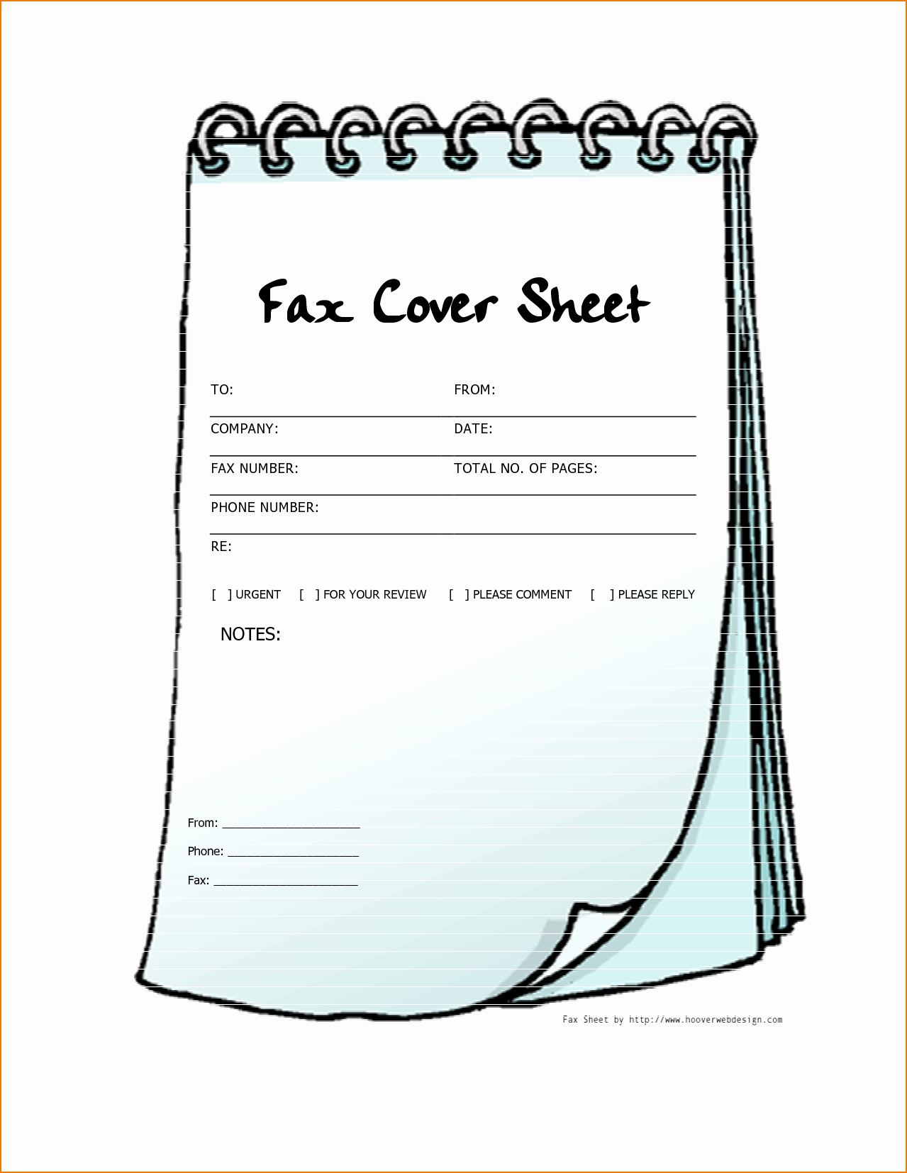 4 printable fax cover sheet template