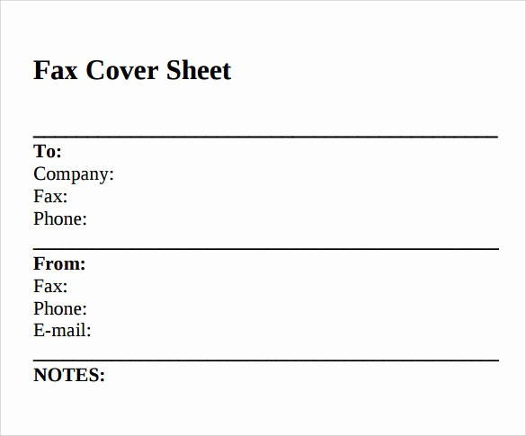 sample standard fax cover sheet