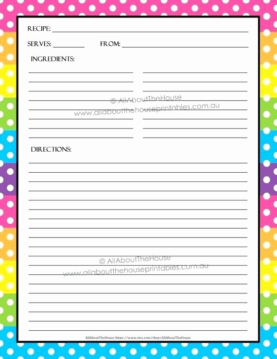 Free Fillable Recipe Card Template Beautiful Editable Printable Recipe Card Template Sheet Page Free