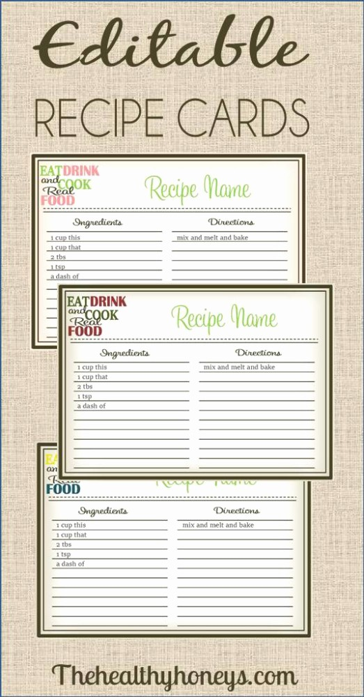 Free Fillable Recipe Card Template Beautiful Real Food Recipe Cards Diy Editable the Healthy Honeys