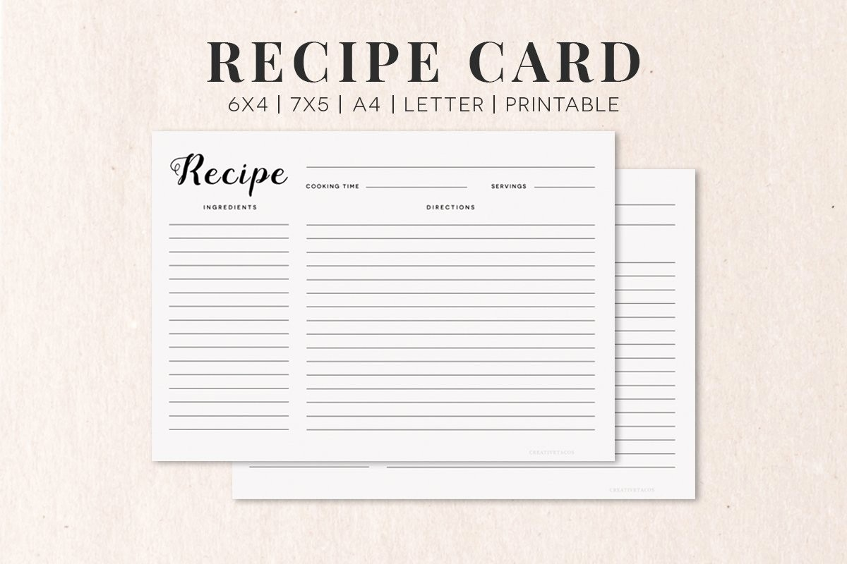Free Fillable Recipe Card Template Inspirational Free Cooking Recipe Card Template Rc1 Creativetacos