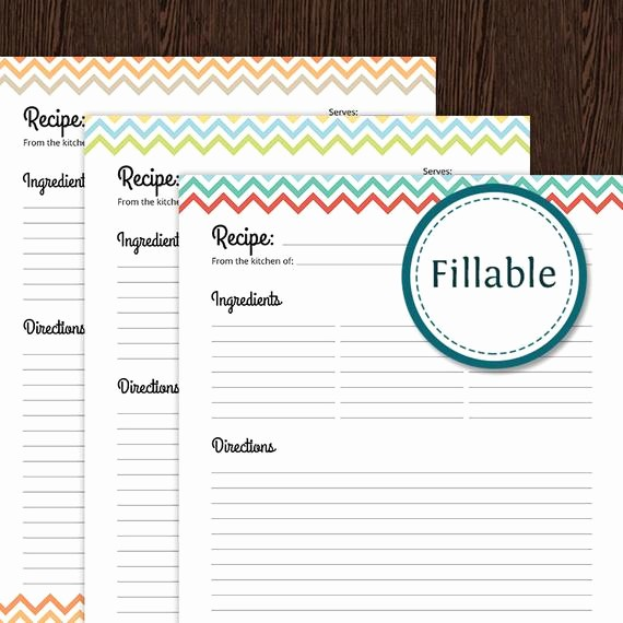 Free Fillable Recipe Card Template Inspirational Recipe Card Full Page Colourful Chevron Fillable