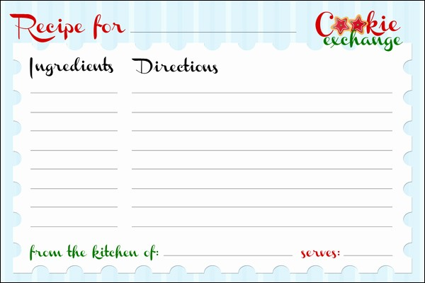 Free Fillable Recipe Card Template Lovely Cookie Exchange Party Free Printables How to Nest for