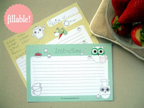 Free Fillable Recipe Card Template New Printable and Fillable Owl Recipe Card