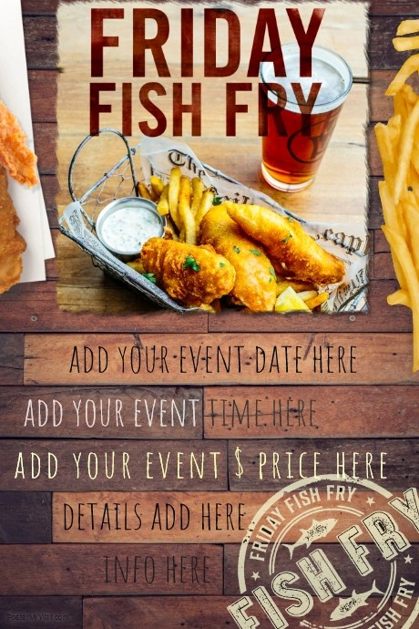 Free Fish Fry Flyer Template Fresh Fish Fry Food Restaurant Special Seafood Party Reunion