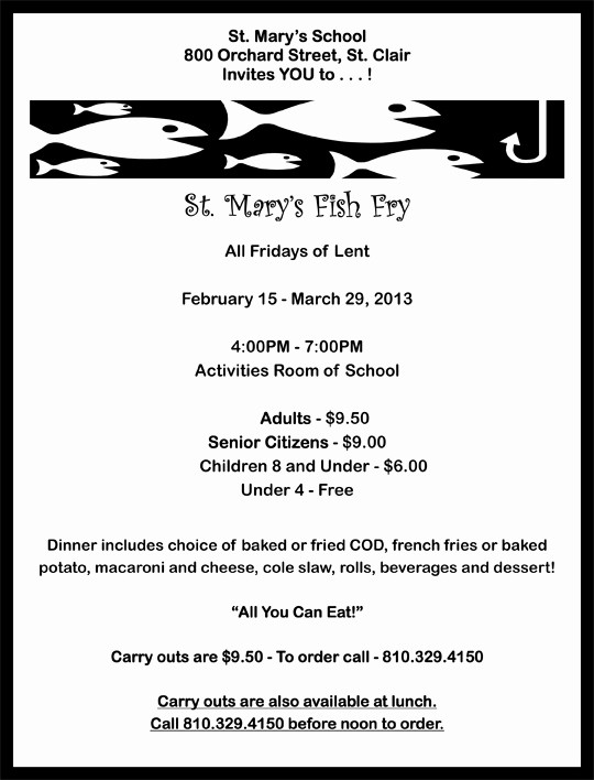 Free Fish Fry Flyer Template Luxury 6 Best Of Free Printable Fish Fry Flyer Church
