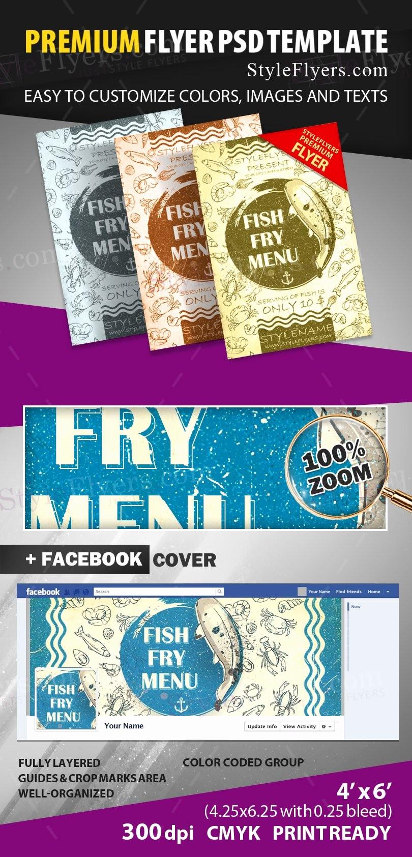 Free Fish Fry Flyer Templates Beautiful Fish Fry Menu Psd Flyer Template Styleflyers