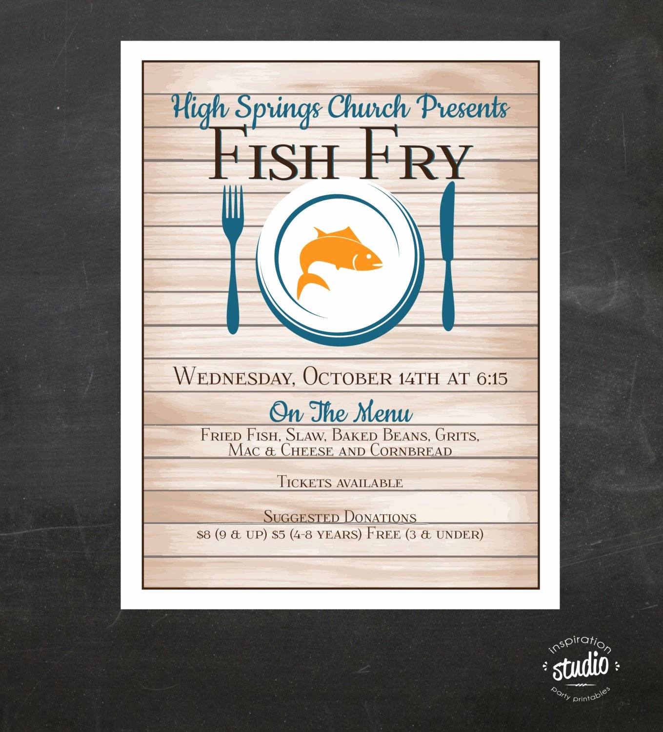 Free Fish Fry Flyer Templates New Fish Fry Flyer Custom event Printable Color Church