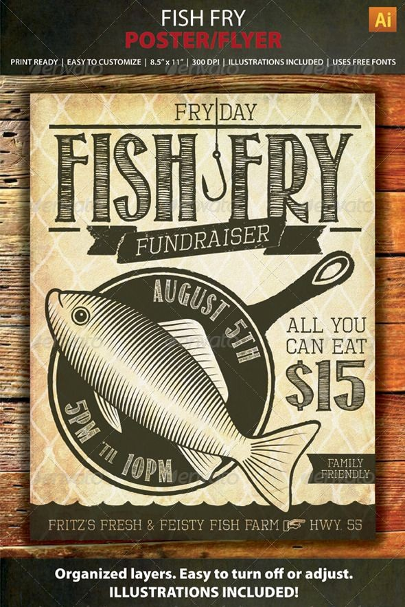 Free Fish Fry Flyer Templates Unique Fish Fry event Fundraiser Poster Flyer or Ad