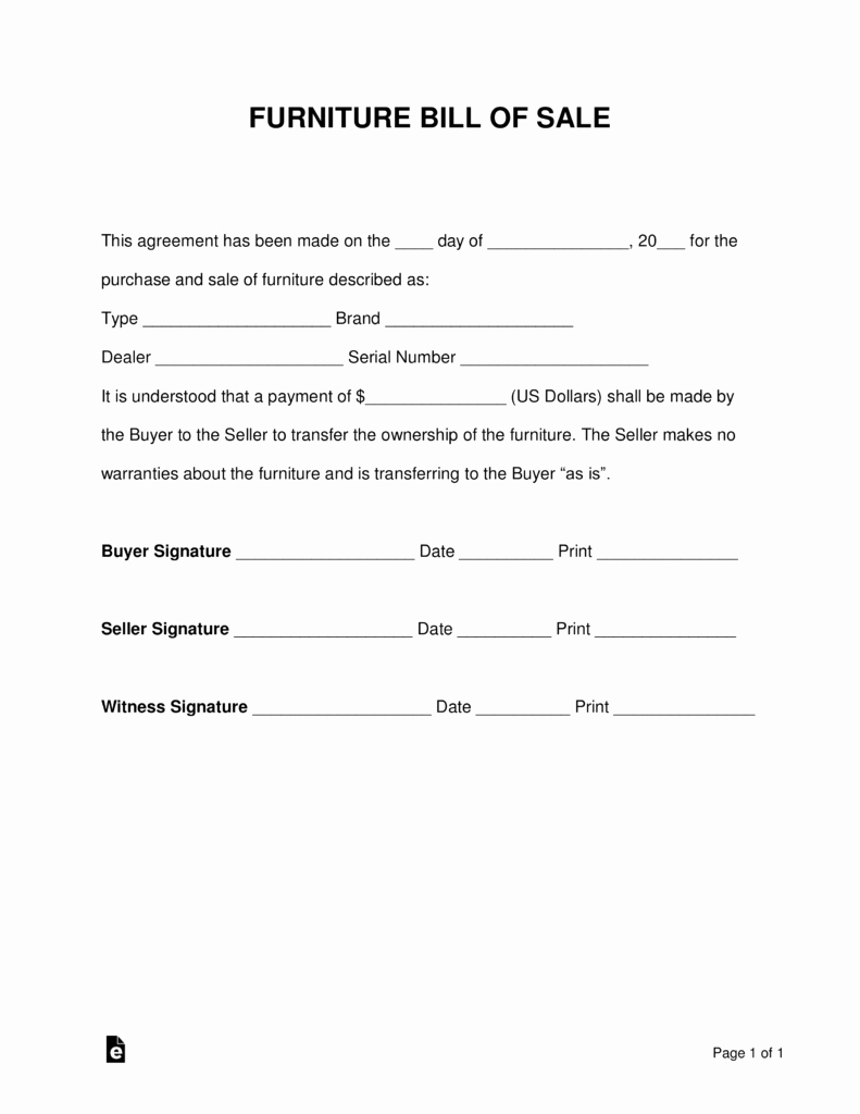 Free forms Bill Of Sale Best Of Free Furniture Bill Of Sale form Pdf Word