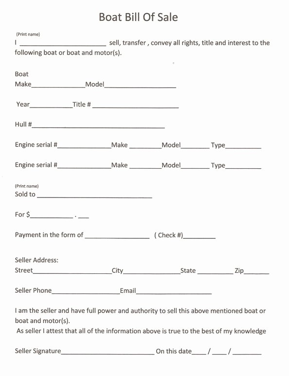 Free forms Bill Of Sale Best Of Free Printable Bill Sale form
