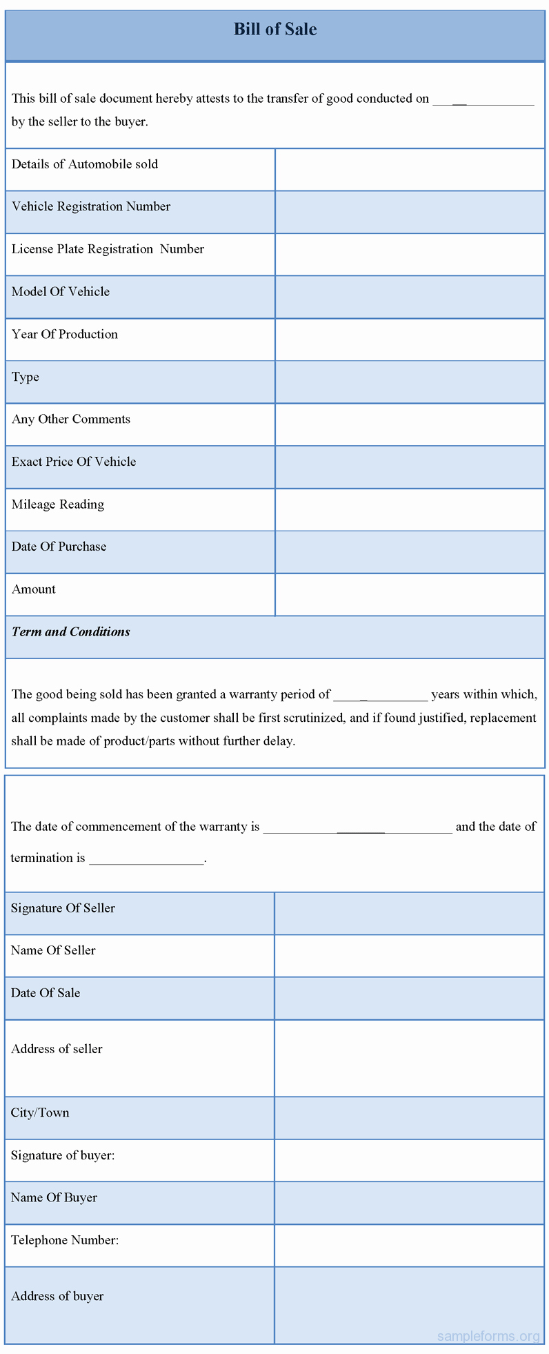 Free forms Bill Of Sale Elegant Free Bill Of Sale form Sample forms