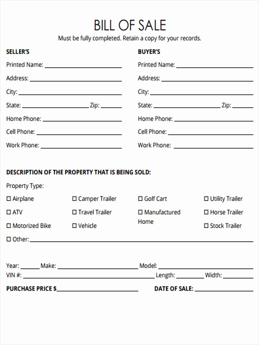 Free forms Bill Of Sale Fresh 5 Horse Bill Of Sale forms Free Sample Example format