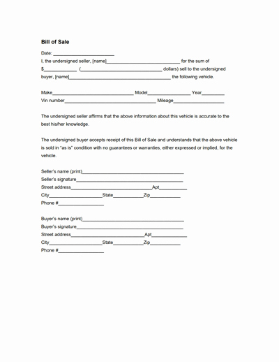 Free forms Bill Of Sale Fresh General Bill Of Sale form Free Download Create Edit