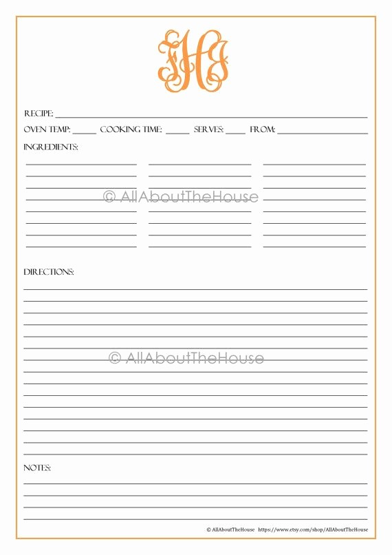 Free Full Page Recipe Template Awesome Monogram Recipe Sheet Editable Recipe Card Preppy Template