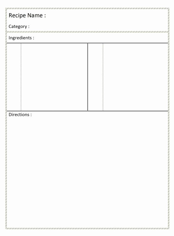 Free Full Page Recipe Template Best Of Full Page Recipe Template for Word