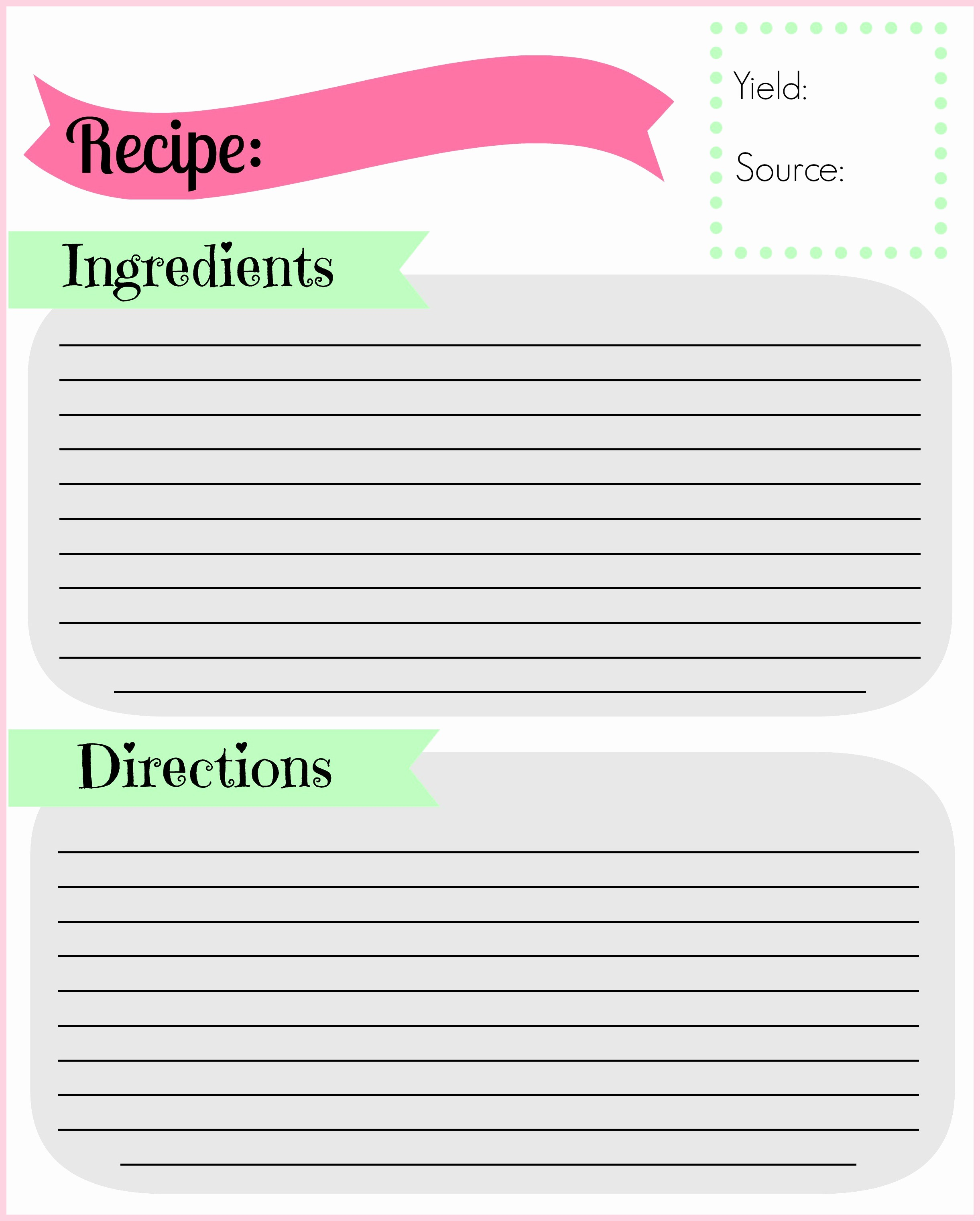 Free Full Page Recipe Template Fresh Diy Recipe Binder