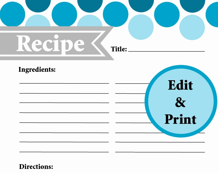 Free Full Page Recipe Template Fresh Full Page Recipe Card Instant Download Fillable