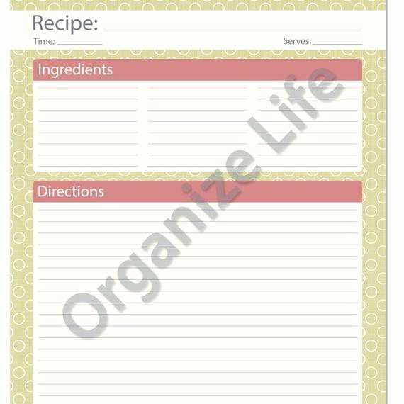 Free Full Page Recipe Template Fresh Recipe Card Full Page Recipe Template Printable Pdf