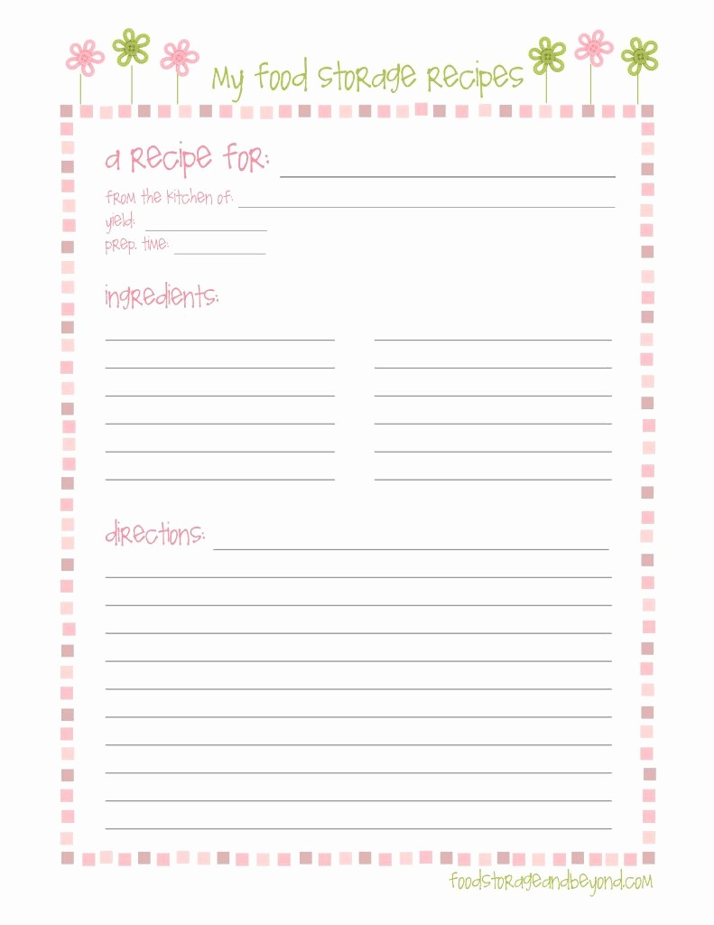 Free Full Page Recipe Template Lovely Fsb Full Page Recipe Card … Make to Sell