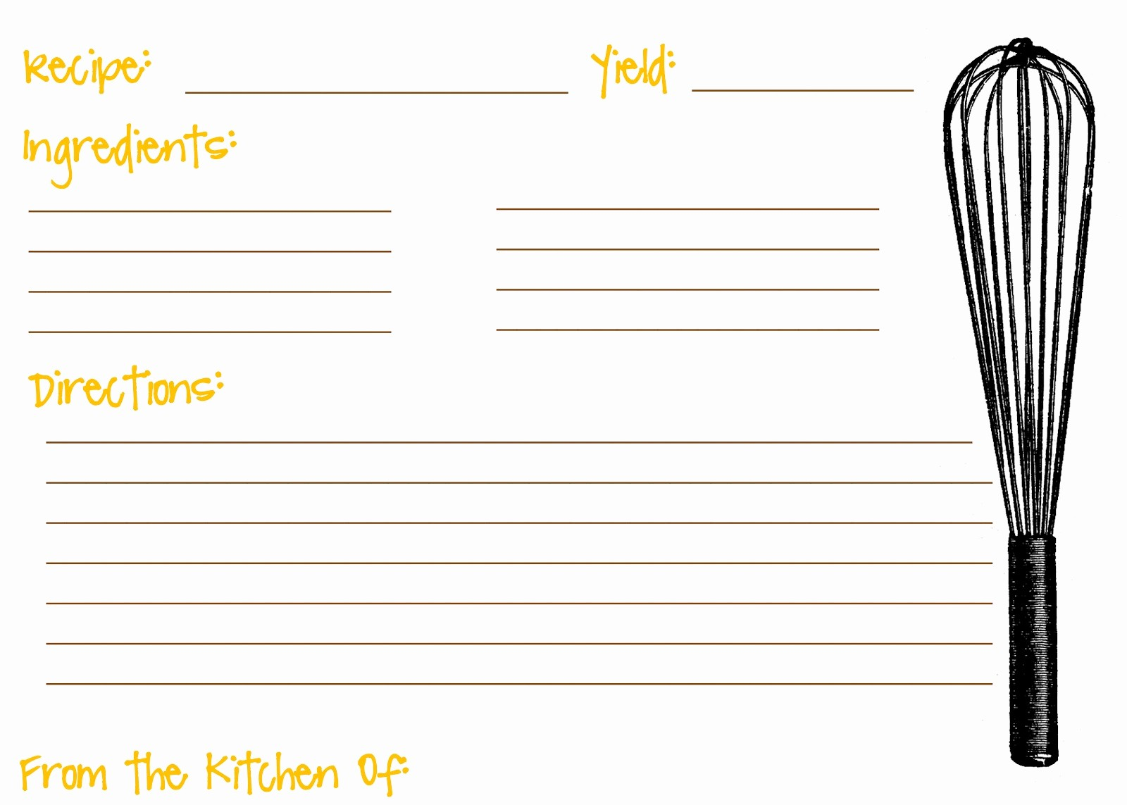 Free Full Page Recipe Template Lovely Templates for Recipe Cards