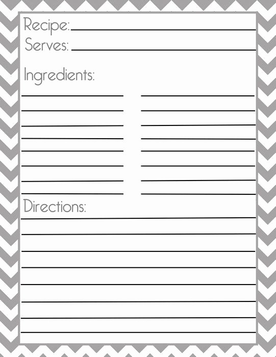 Free Full Page Recipe Template New Chevron Gray Recipe Page and Filler Page