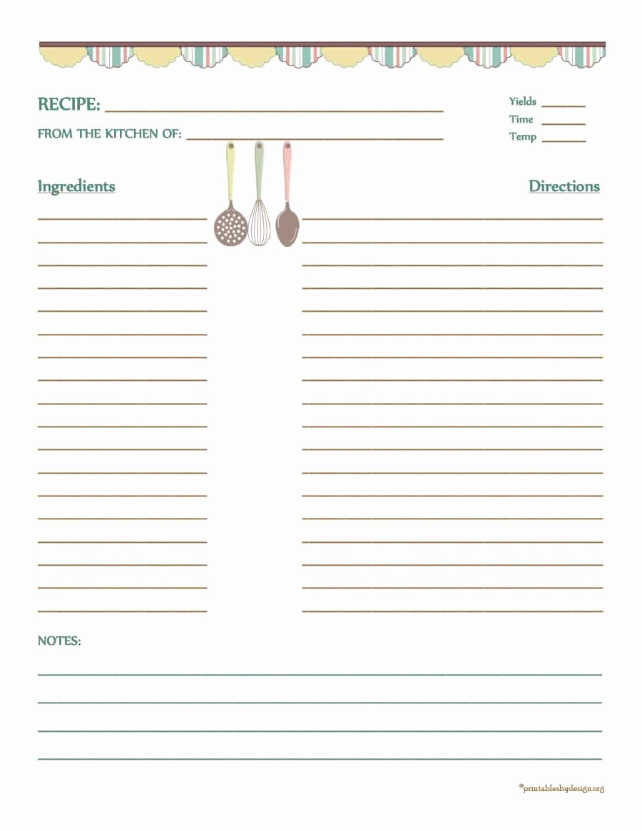 Free Full Page Recipe Template Unique 44 Perfect Cookbook Templates [ Recipe Book & Recipe Cards]