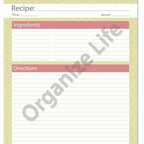 Free Full Page Recipe Templates Awesome Recipe Card Full Page Recipe Template Printable Pdf