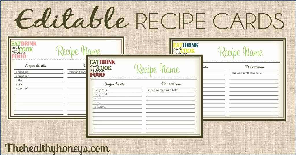 Free Full Page Recipe Templates Beautiful Real Food Recipe Cards Diy Editable the Healthy Honeys