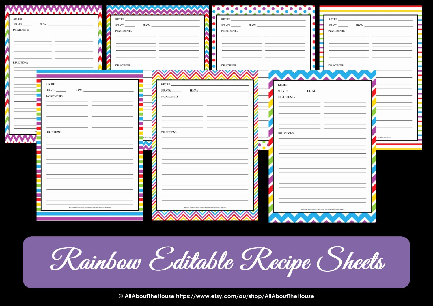 Free Full Page Recipe Templates Lovely Editable Printable Chevron Recipe Template Recipe Card