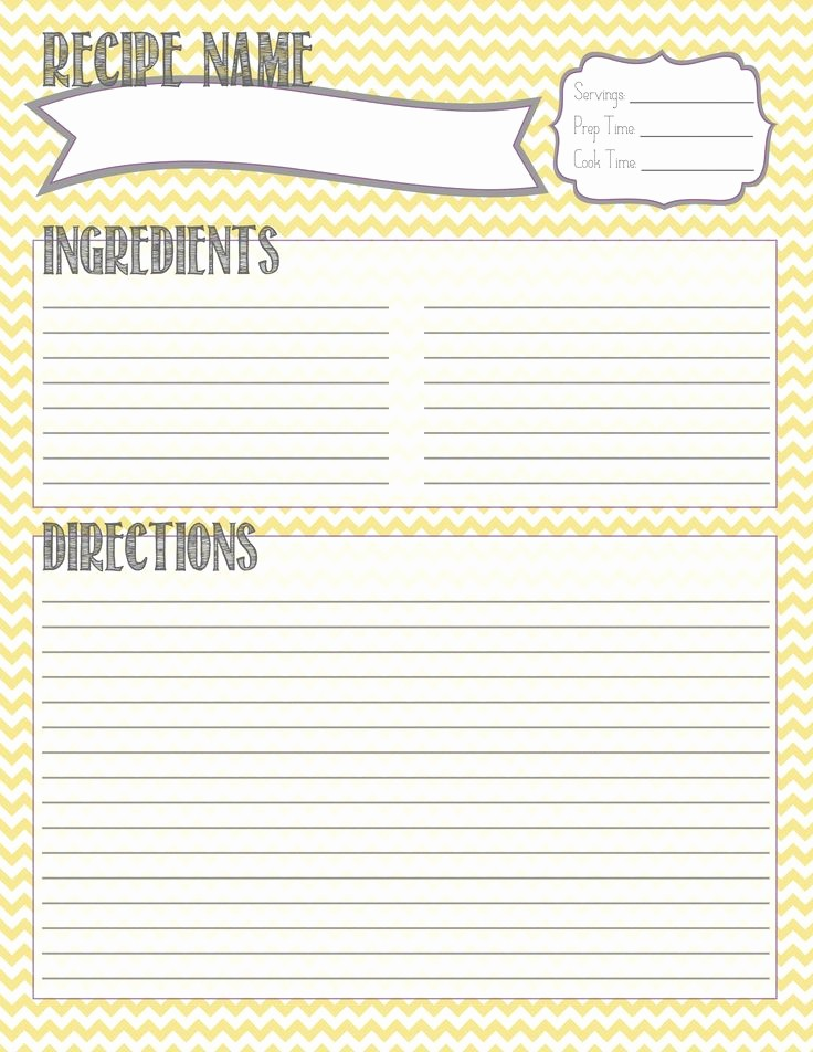 Free Full Page Recipe Templates Lovely Printable Recipe Template