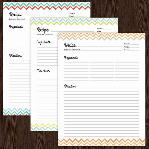 Free Full Page Recipe Templates Luxury Recipe Card Full Page Colourful Chevron Fillable