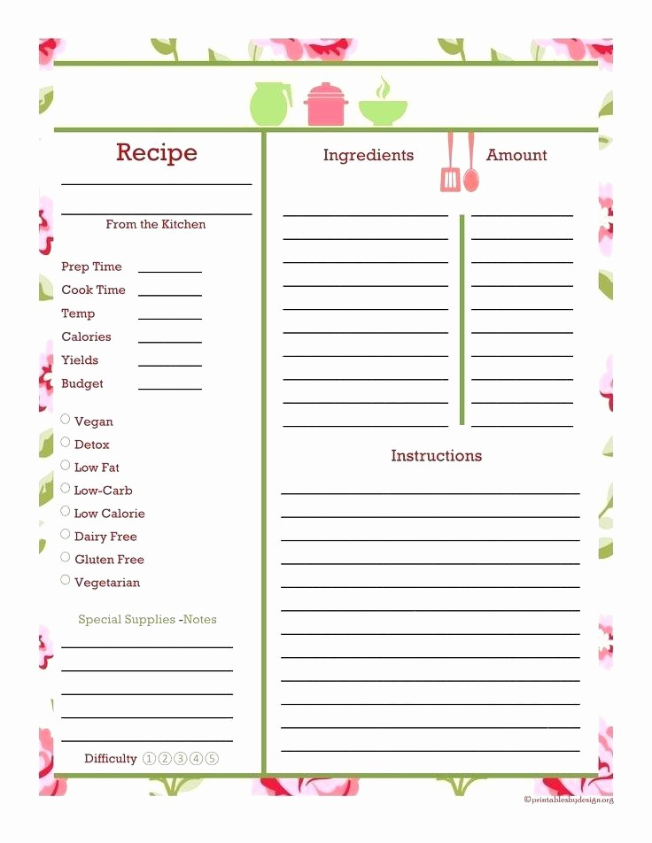 Free Full Page Recipe Templates New Full Page Recipe Card Template Cards Vintage Blank Free
