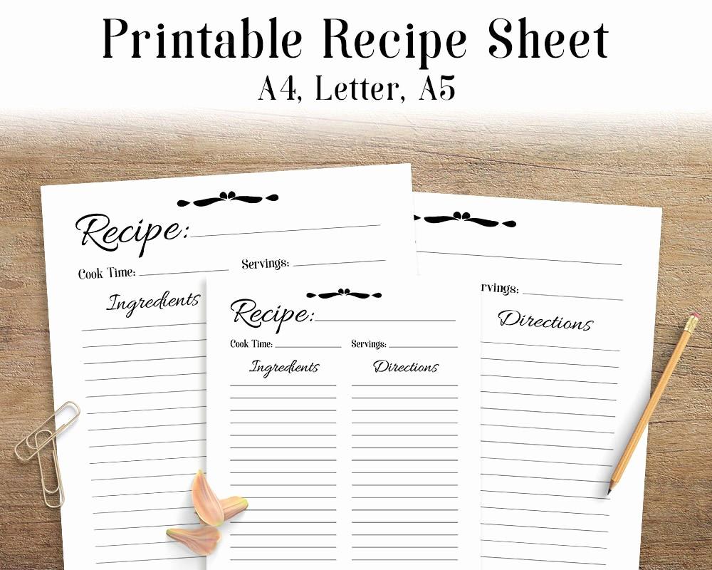 Free Full Page Recipe Templates Unique Recipe Sheet Printable Recipe Page Template Blank Recipe