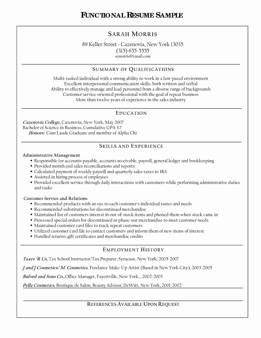 Free Functional Resume Template 2018 Inspirational Functional Resume format Free