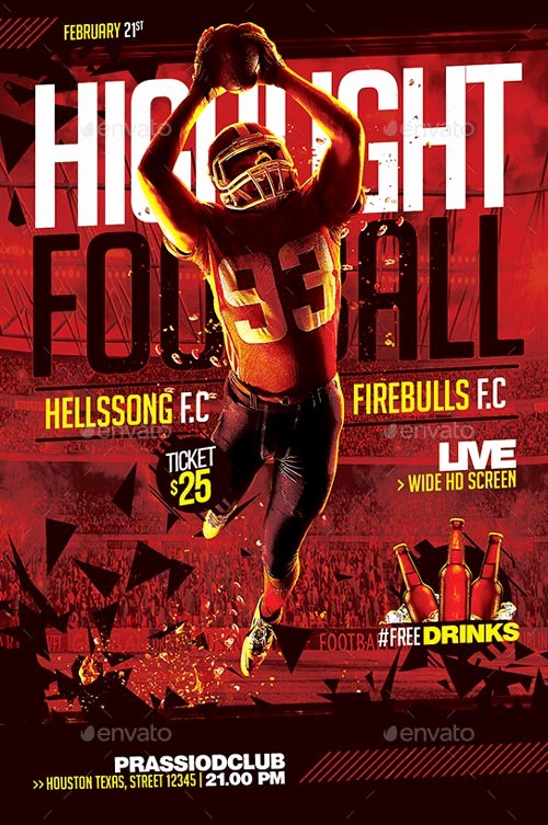 Free Game Night Flyer Template Awesome Football Game Night Flyer Template for Sport events