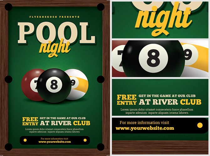 Free Game Night Flyer Template Beautiful Pool Night Flyer Template Flyerheroes