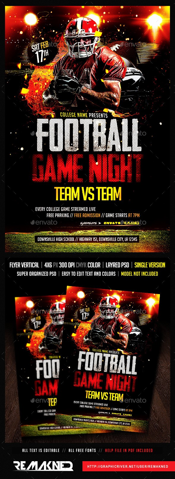 Free Game Night Flyer Template Elegant Football Game Night