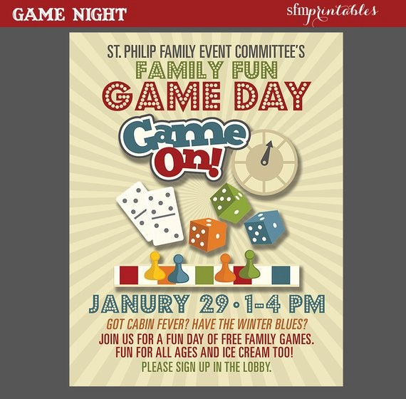 Free Game Night Flyer Template Elegant Game Night Poster Fun Dice Template Church School Munity