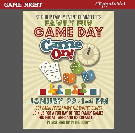 Free Game Night Flyer Template Elegant Game Night Poster Fun Dice Template Church School Munity