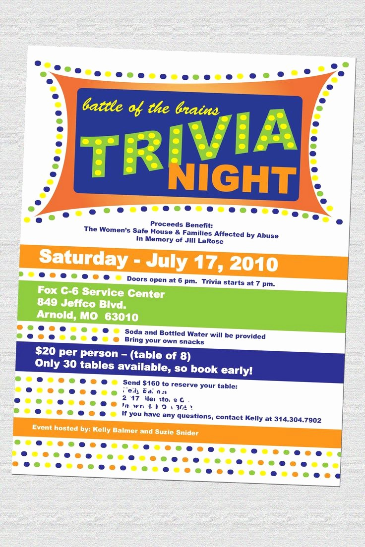Free Game Night Flyer Template Lovely Trivia Night Flyers Fundraising Pinterest