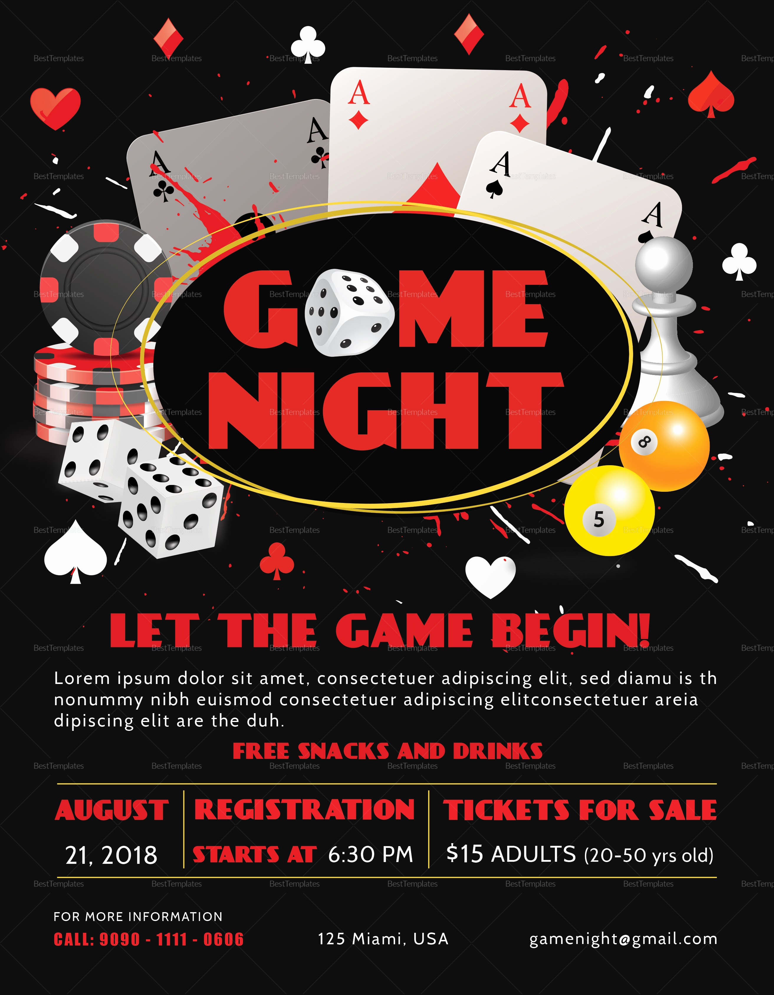 Free Game Night Flyer Template New Game Night Flyer Design Template In Psd Word Publisher