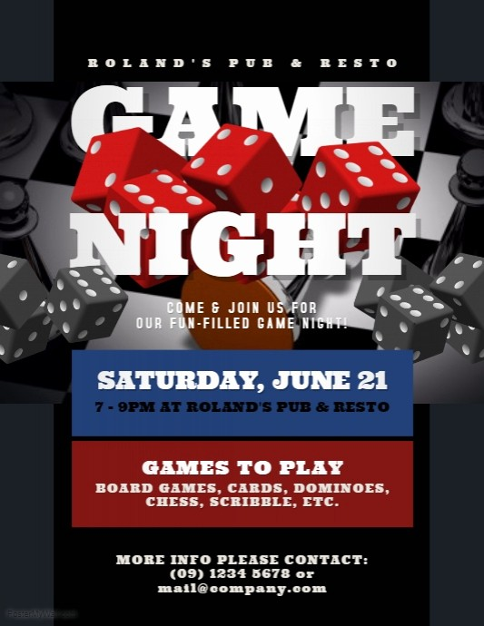 Free Game Night Flyer Template Unique Game Night Flyer Template