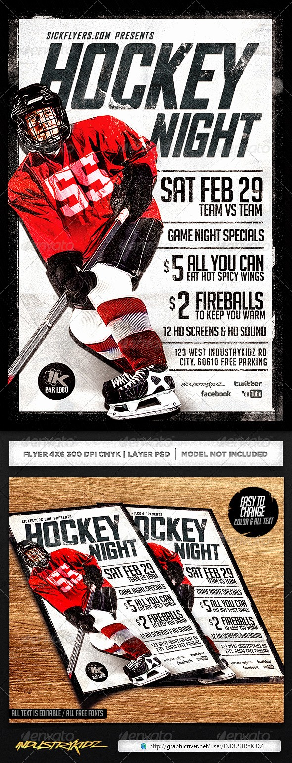 Free Game Night Flyer Template Unique Hockey Game Night Flyer Template
