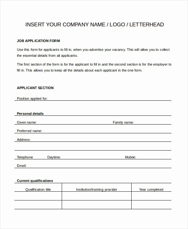 Free General Application for Employment New Generic Job Application form Free Download Freemium