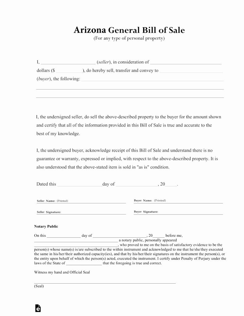 Free Generic Bill Of Sale Best Of Free Arizona General Bill Of Sale form Pdf
