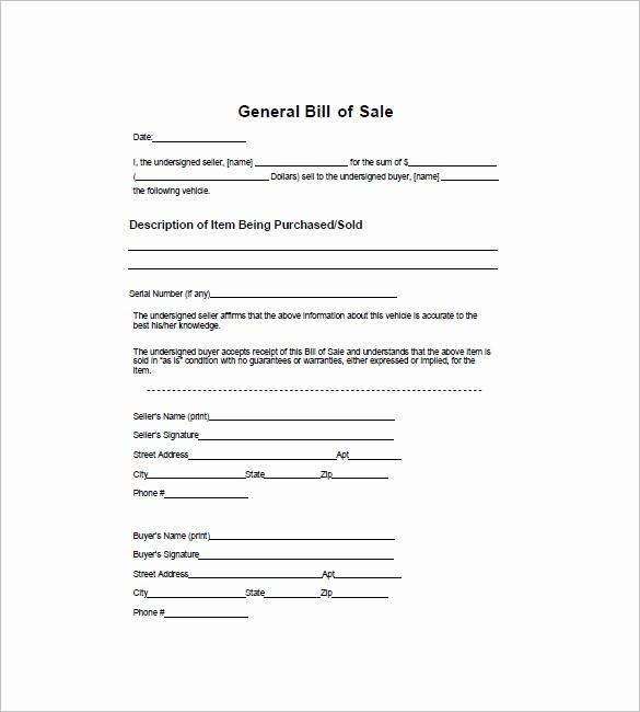 Free Generic Bill Of Sale Elegant General Bill Of Sale – 14 Free Word Excel Pdf format