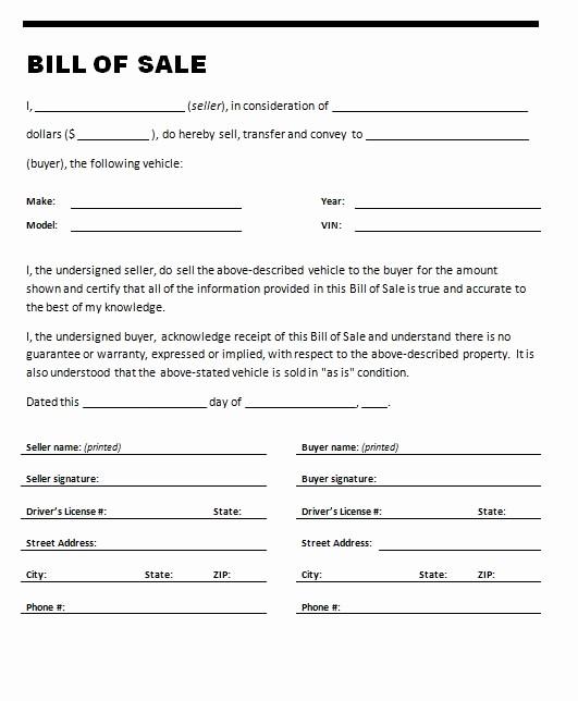 Free Generic Bill Of Sale Luxury Free Printable Auto Bill Of Sale form Generic