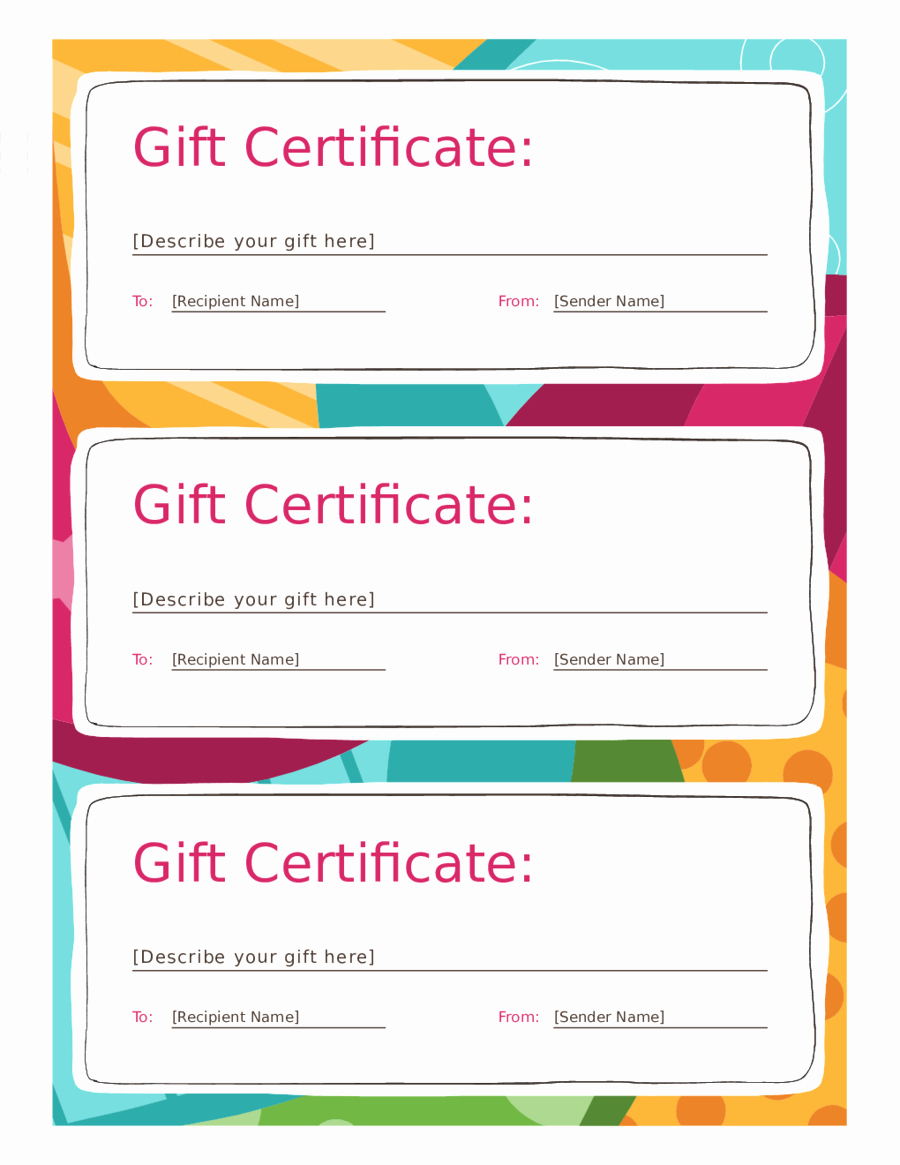 Free Gift Card Template Download Inspirational 2018 Gift Certificate form Fillable Printable Pdf